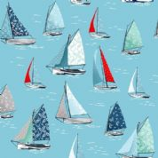 Sea Breeze by Makower UK - 6309 - Yachts on Sky Blue - 2082_B4 - Cotton Fabric